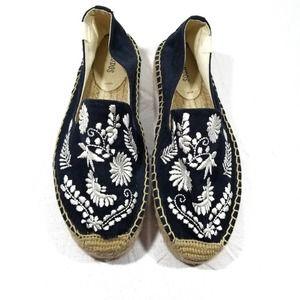 Soludos Navy Blue IBIZA Embroidered Espadrilles